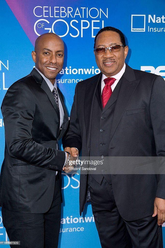 Singers Javen Campbell (L) and <a gi-track='captionPersonalityLinkClicked' href=/galleries/search?phrase=Dr.+Bobby+Jones&family=editorial&specificpeople=4115638 ng-click='$event.stopPropagation()'>Dr. Bobby Jones</a> attend the BET 13th annual 'Celebration Of Gospel' at Orpheum Theatre on March 16, 2013 in Los Angeles, California.