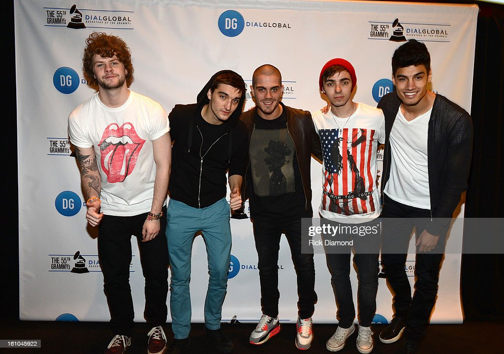 Singers Jay McGuiness, Tom Parker, Max George, Nathan Sykes, and Siva Kaneswaran of The Wanted pose backstage at the GRAMMYs Dial Global Radio Remotes during The 55th Annual GRAMMY Awards at the STAPLES Center on February 8, 2013 in Los Angeles, California.