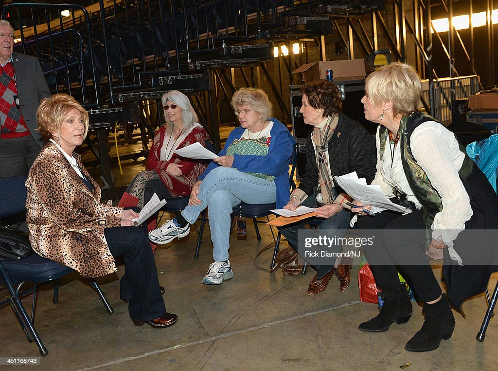 Singers Jeannie Seely, <a gi-track='captionPersonalityLinkClicked' href=/galleries/search?phrase=Emmylou+Harris&family=editorial&specificpeople=240263 ng-click='$event.stopPropagation()'>Emmylou Harris</a>, Jean Shepard, <a gi-track='captionPersonalityLinkClicked' href=/galleries/search?phrase=Leona+Williams&family=editorial&specificpeople=11672752 ng-click='$event.stopPropagation()'>Leona Williams</a>, and <a gi-track='captionPersonalityLinkClicked' href=/galleries/search?phrase=Janie+Fricke&family=editorial&specificpeople=3135634 ng-click='$event.stopPropagation()'>Janie Fricke</a> rehearse during rehearsals of Playin' Possum! The Final No Show Tribute To George Jones at Bridgestone Arena on November 21, 2013 in Nashville, Tennessee.