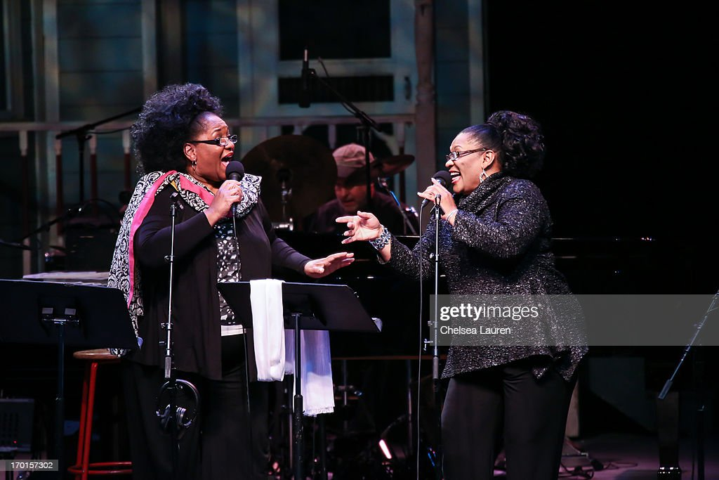 Singers Jearlyn Steele (L) and Jevetta Steele perform during A Prairie Home Companion taping at The Greek Theatre on June 7, 2013 in Los Angeles, California.
