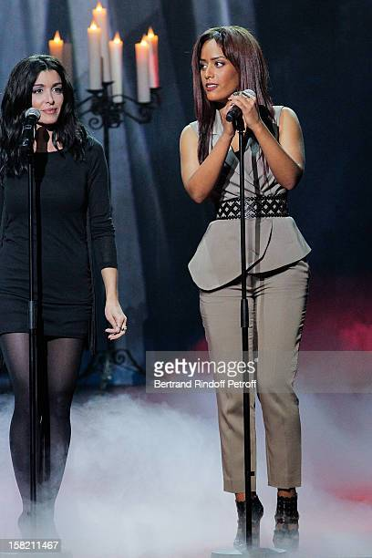 Singers Jenifer and Amel Bent perform during 'La Chanson De L'Annee 2012' Show Recording at Palais des Sports on December 10 2012 in Paris France