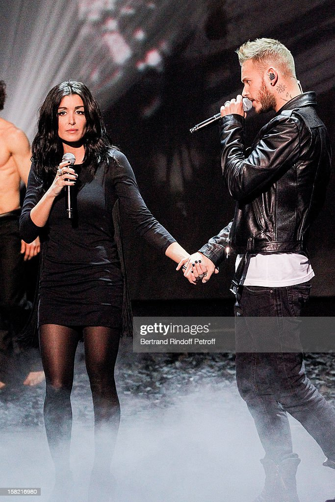 Singers Jenifer and M Pokora pay a tribute in music to Gregory Lemarchal during 'La Chanson De L'Annee 2012' Show Recording at Palais des Sports on December 10, 2012 in Paris, France.