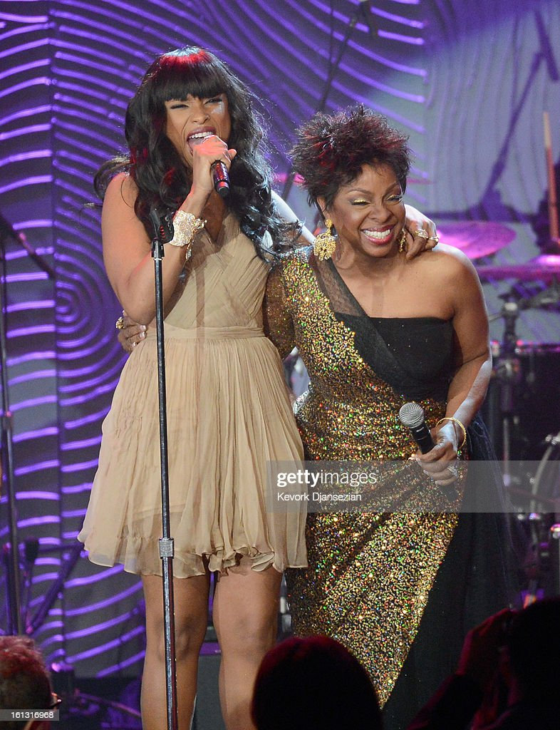 Singers <a gi-track='captionPersonalityLinkClicked' href=/galleries/search?phrase=Jennifer+Hudson&family=editorial&specificpeople=234833 ng-click='$event.stopPropagation()'>Jennifer Hudson</a> (L) and <a gi-track='captionPersonalityLinkClicked' href=/galleries/search?phrase=Gladys+Knight&family=editorial&specificpeople=169894 ng-click='$event.stopPropagation()'>Gladys Knight</a> perform onstage at Clive Davis & The Recording Academy's 2013 Pre-GRAMMY Gala and Salute to Industry Icons honoring Antonio 'L.A.' Reid at The Beverly Hilton Hotel on February 9, 2013 in Beverly Hills, California.