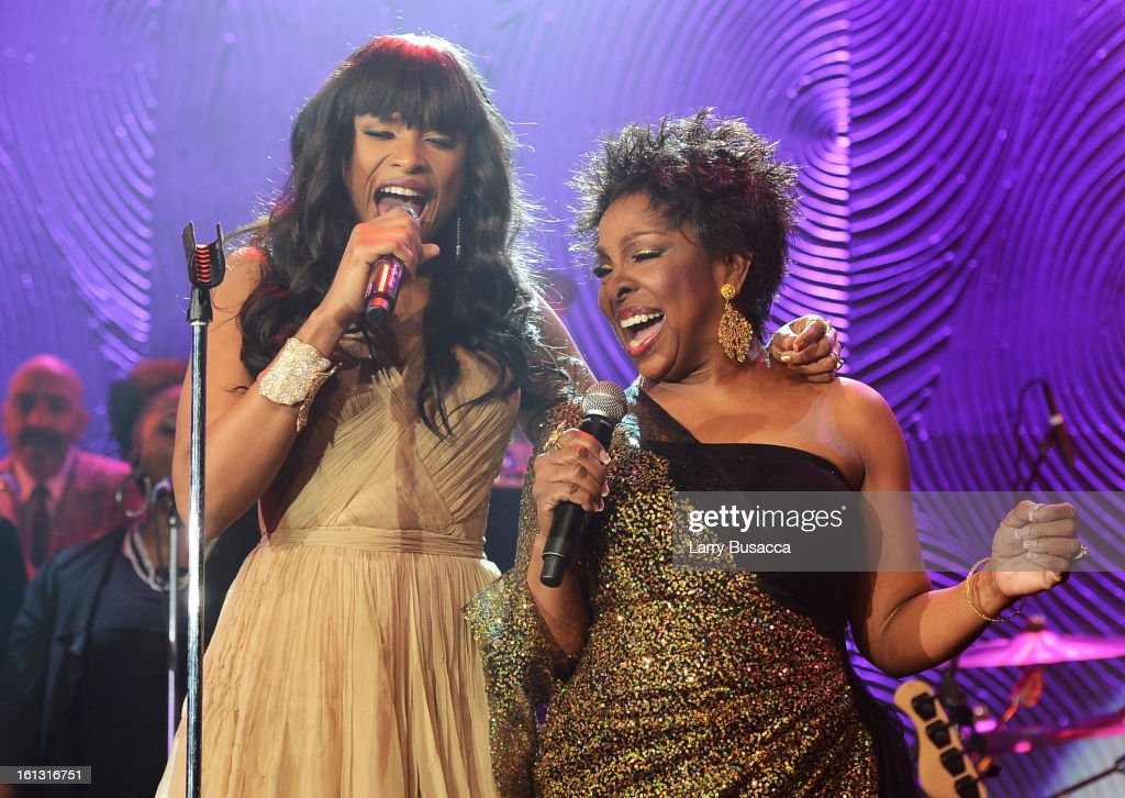 Singers <a gi-track='captionPersonalityLinkClicked' href=/galleries/search?phrase=Jennifer+Hudson&family=editorial&specificpeople=234833 ng-click='$event.stopPropagation()'>Jennifer Hudson</a> and <a gi-track='captionPersonalityLinkClicked' href=/galleries/search?phrase=Gladys+Knight&family=editorial&specificpeople=169894 ng-click='$event.stopPropagation()'>Gladys Knight</a> perform onstage at the 55th Annual GRAMMY Awards Pre-GRAMMY Gala and Salute to Industry Icons honoring L.A. Reid held at The Beverly Hilton on February 9, 2013 in Los Angeles, California.