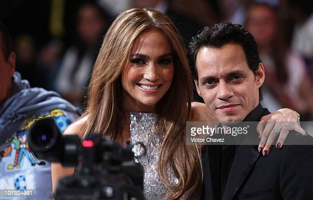 Singers Jennifer Lopez and her husband Marc Anthony make a donation during the Teleton 2010 tv broadcast at Televisa San Angel on December 3 2010 in...