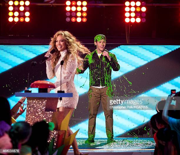 Singers Jennifer Lopez and Nick Jonas attend Nickelodeon's 28th Annual Kids' Choice Awards held at The Forum on March 28 2015 in Inglewood California