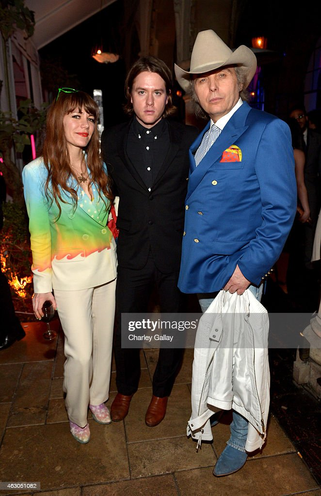 Singers Jenny Lewis, Johnathan Rice and Dwight Yoakam attend the Warner Music Group annual Grammy celebration at Chateau Marmont on February 8, 2015 in Los Angeles, California.