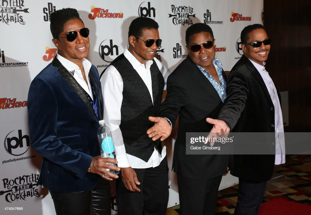 Singers <a gi-track='captionPersonalityLinkClicked' href=/galleries/search?phrase=Jermaine+Jackson&family=editorial&specificpeople=204742 ng-click='$event.stopPropagation()'>Jermaine Jackson</a>, <a gi-track='captionPersonalityLinkClicked' href=/galleries/search?phrase=Jackie+Jackson&family=editorial&specificpeople=212794 ng-click='$event.stopPropagation()'>Jackie Jackson</a>, <a gi-track='captionPersonalityLinkClicked' href=/galleries/search?phrase=Tito+Jackson&family=editorial&specificpeople=216556 ng-click='$event.stopPropagation()'>Tito Jackson</a> and <a gi-track='captionPersonalityLinkClicked' href=/galleries/search?phrase=Marlon+Jackson+-+Musician&family=editorial&specificpeople=914632 ng-click='$event.stopPropagation()'>Marlon Jackson</a> arrive at RockTellz & CockTails presents The Jacksons at Planet Hollywood Resort & Casino on February 22, 2014 in Las Vegas, Nevada.
