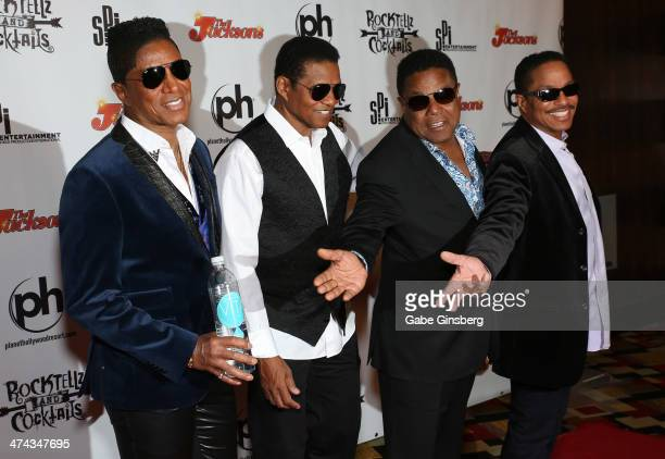 Singers Jermaine Jackson Jackie Jackson Tito Jackson and Marlon Jackson arrive at RockTellz CockTails presents The Jacksons at Planet Hollywood...