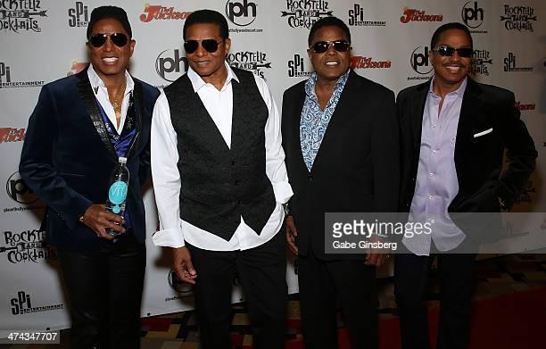 Singers Jermaine Jackson Jackie Jackson Tito Jackson and Marlon Jackson arrive at RockTellz CockTails presents The Jacksons at Planet Hollywood...