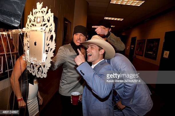 Singers Jerrod Niemann and Dustin Lynch attend the 49th Annual Academy of Country Music Awards at the MGM Grand Garden Arena on April 6 2014 in Las...