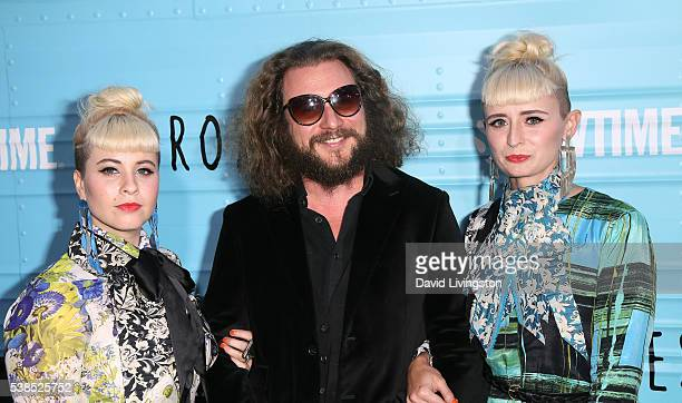 Singers Jess Wolfe Jim James and Holly Laessig attend the premiere for Showtime's 'Roadies' at The Theatre at Ace Hotel on June 6 2016 in Los Angeles...