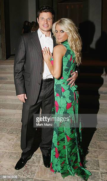 Singers Jessica Simpson and husband Nick Lachey attend the 'Gucci Spring 2006 Fashion Show Benefitting The Childrens Action Network' at Michael...