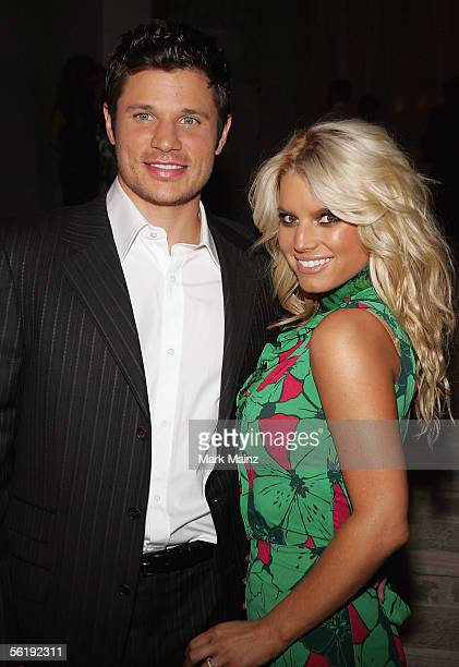 Singers Jessica Simpson and husband Nick Lachey attends the 'Gucci Spring 2006 Fashion Show Benefitting The Childrens Action Network' at Michael...