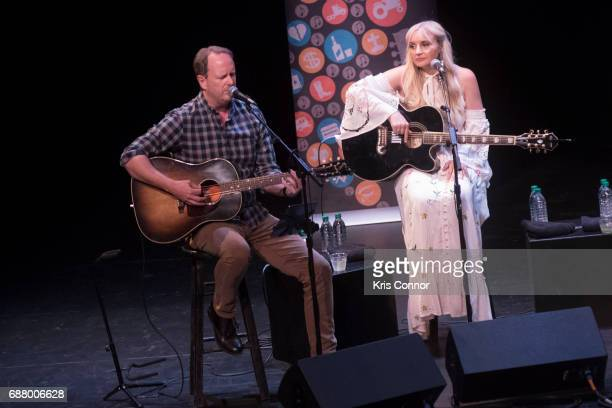 Singers Jim Beavers and Heather Morgan perform during the CMA Songwriters Series at The Kennedy Center of performing arts on May 24 2017 in...
