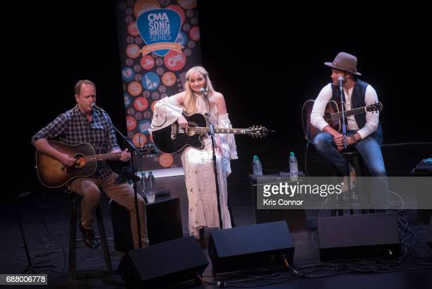 Singers Jim Beavers Heather Morgan and Drake White performs during the CMA Songwriters Series at The Kennedy Center of performing arts on May 24 2017...