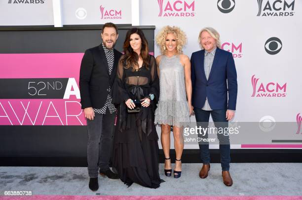 Singers Jimi Westbrook Karen Fairchild Kimberly Schlapman and Philip Sweet of music groups Little Big Town attend the 52nd Academy Of Country Music...