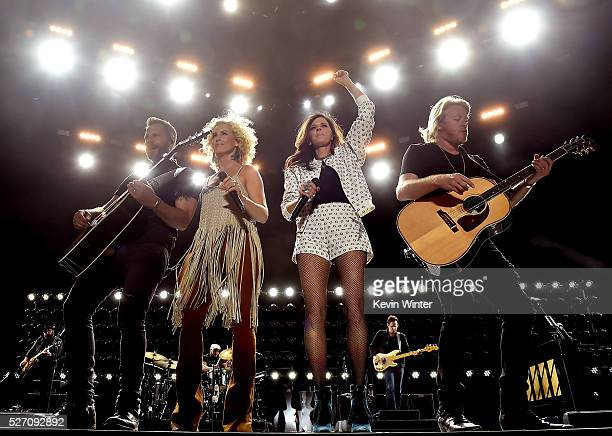 Singers Jimi Westbrook Kimberly Roads Schlapman Karen Fairchild and Phillip Sweet of Little Big Town perform onstage during 2016 Stagecoach...