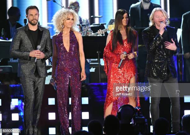 Singers Jimi Westbrook Kimberly Roads Schlapman Karen Fairchild and Philip Sweet of Little Big Town perform a tribute to the Bee Gees onstage during...