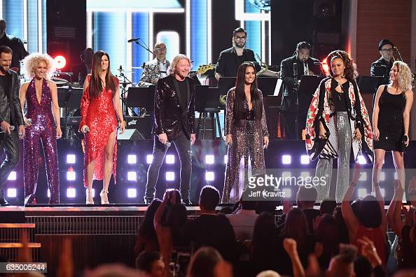 Singers Jimi Westbrook Kimberly Roads Schlapman Karen Fairchild Philip Sweet Demi Lovato Andra Day and Tori Kelly perform a tribute to the Bee Gees...