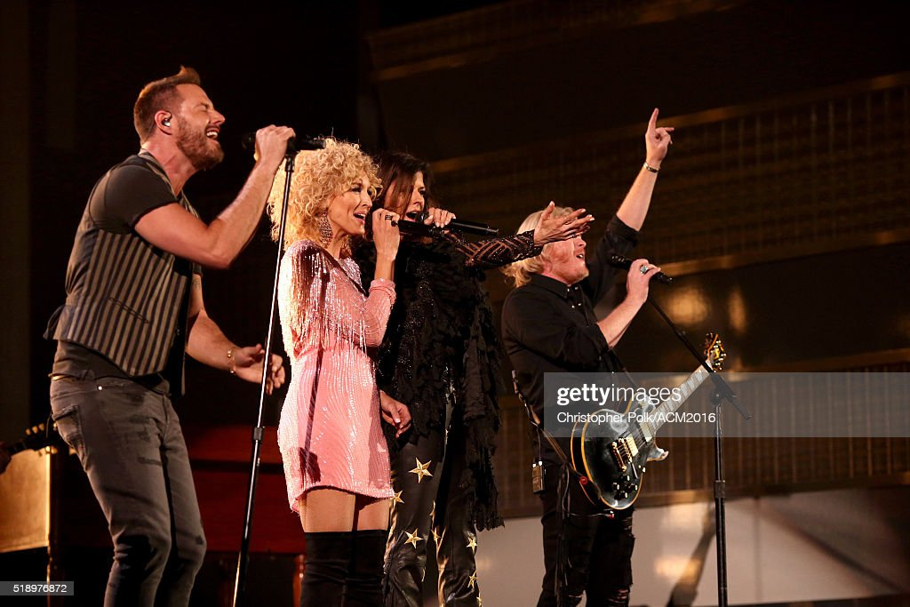 Singers Jimi Westbrook Kimberly Schlapman Karen Fairchild and Philip Sweet of Little Big Town perform onstage at the 51st Academy of Country Music...