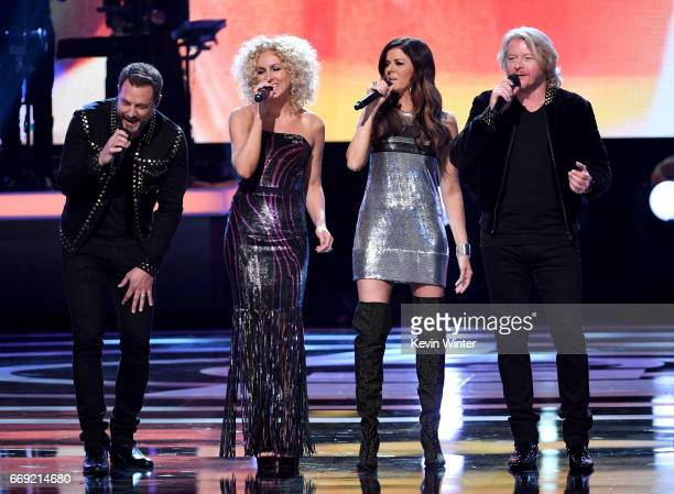 Singers Jimi Westbrook Kimberly Schlapman Karen Fairchild and Philip Sweet of Little Big Town perform onstage during 'Stayin' Alive A GRAMMY Salute...