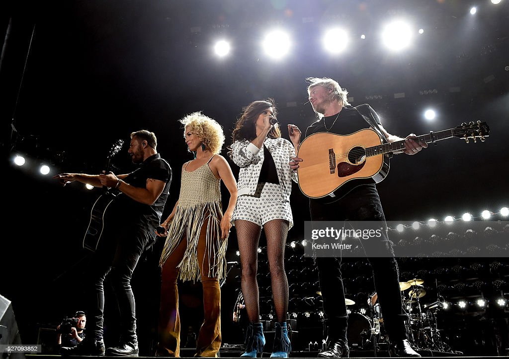 Singers Jimi Westbrook, Kimberly Schlapman, Karen Fairchild and Phillip Sweet of Little Big Town perform onstage during 2016 Stagecoach California's Country Music Festival at Empire Polo Club on May 01, 2016 in Indio, California.