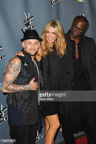 Singers Joel Madden Delta Goodrem and Seal arrive at the screening of NBC's 'The Voice' Season 4 at TCL Chinese Theatre on March 20 2013 in Hollywood...