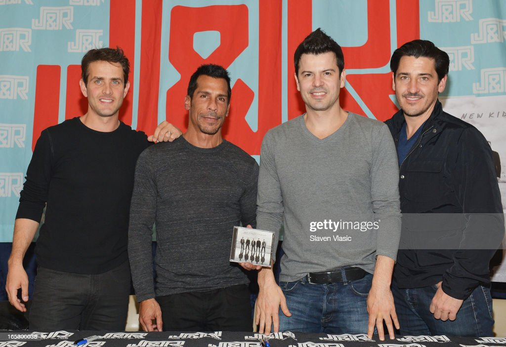 Singers <a gi-track='captionPersonalityLinkClicked' href=/galleries/search?phrase=Joey+McIntyre&family=editorial&specificpeople=650190 ng-click='$event.stopPropagation()'>Joey McIntyre</a>, <a gi-track='captionPersonalityLinkClicked' href=/galleries/search?phrase=Danny+Wood&family=editorial&specificpeople=761327 ng-click='$event.stopPropagation()'>Danny Wood</a>, <a gi-track='captionPersonalityLinkClicked' href=/galleries/search?phrase=Jordan+Knight&family=editorial&specificpeople=809007 ng-click='$event.stopPropagation()'>Jordan Knight</a> and <a gi-track='captionPersonalityLinkClicked' href=/galleries/search?phrase=Jonathan+Knight&family=editorial&specificpeople=1041464 ng-click='$event.stopPropagation()'>Jonathan Knight</a> of New Kids on the Block attend the New Kids on the Block fan meet and greet at J&R Music World on April 2, 2013 in New York City.