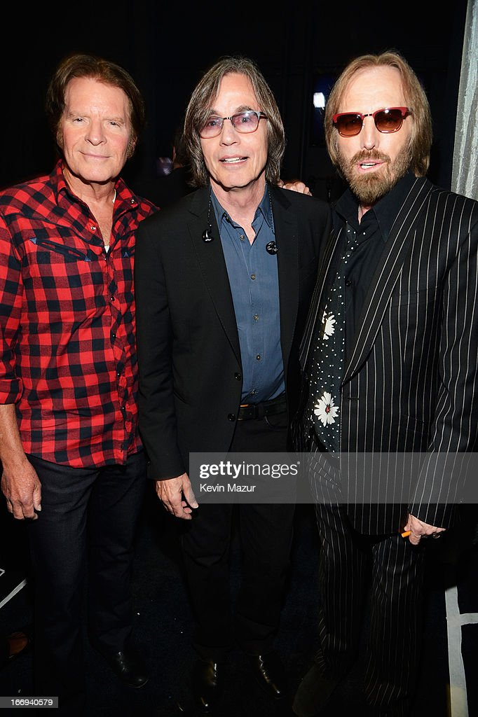 R Singers John Fogerty, Jackson Browne and Tom Petty attend the 28th Annual Rock and Roll Hall of Fame Induction Ceremony at Nokia Theatre L.A. Live on April 18, 2013 in Los Angeles, California.