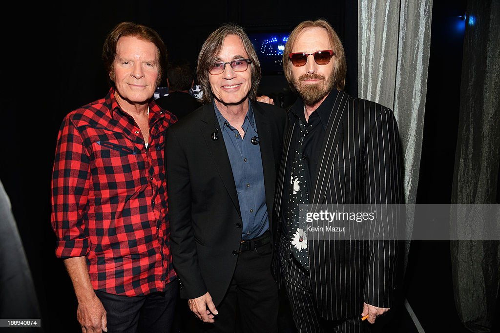 Singers John Fogerty, Jackson Browne and Tom Petty attend the 28th Annual Rock and Roll Hall of Fame Induction Ceremony at Nokia Theatre L.A. Live on April 18, 2013 in Los Angeles, California.