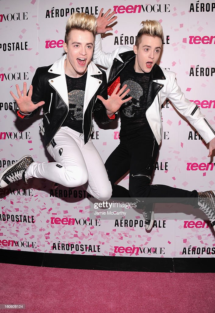 Singers John Grimes and Edward Grimes of Jedward attend the 10th Anniversary of Teen Vogue and Aeropostale's Celebration of Chloe Grace Moretz's Sweet 16 at Aeropostale Times Square on February 7, 2013 in New York City.