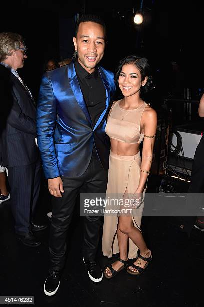 Singers John Legend and Jhene Aiko attend the BET AWARDS '14 at Nokia Theatre LA LIVE on June 29 2014 in Los Angeles California