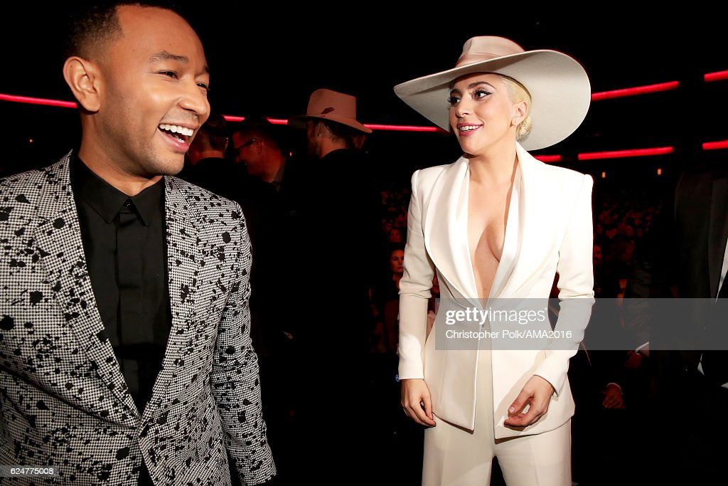 Singers John Legend (L) and Lady Gaga attend the 2016 American Music Awards at Microsoft Theater on November 20, 2016 in Los Angeles, California.