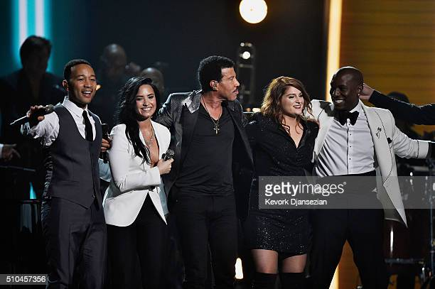 Singers John Legend Demi Lovato Lionel Richie Meghan Trainor and Tyrese Gibson perform onstage during The 58th GRAMMY Awards at Staples Center on...