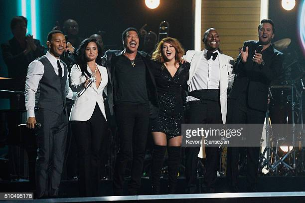 Singers John Legend Demi Lovato Lionel Richie Meghan Trainor Tyrese Gibson and Luke Bryan appear onstage during The 58th GRAMMY Awards at Staples...