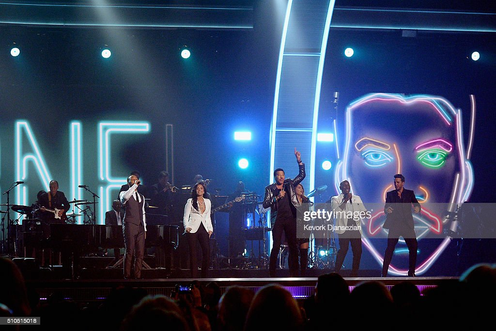 Singers John Legend, Demi Lovato, Lionel Richie, Meghan Trainor, Tyrese Gibson and Luke Bryan perform onstage during The 58th GRAMMY Awards at Staples Center on February 15, 2016 in Los Angeles, California.