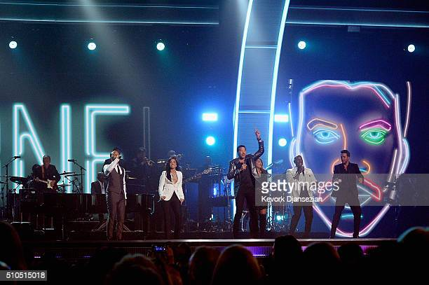 Singers John Legend Demi Lovato Lionel Richie Meghan Trainor Tyrese Gibson and Luke Bryan perform onstage during The 58th GRAMMY Awards at Staples...