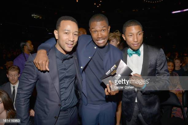 Singers John Legend Frank Ocean and musician/producer Pharrell Williams attend the 55th Annual GRAMMY Awards at STAPLES Center on February 10 2013 in...