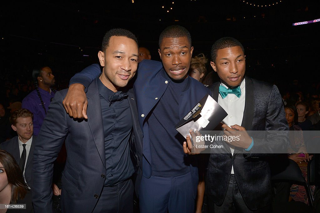 Singers John Legend, Frank Ocean, and musician/producer Pharrell Williams attend the 55th Annual GRAMMY Awards at STAPLES Center on February 10, 2013 in Los Angeles, California.