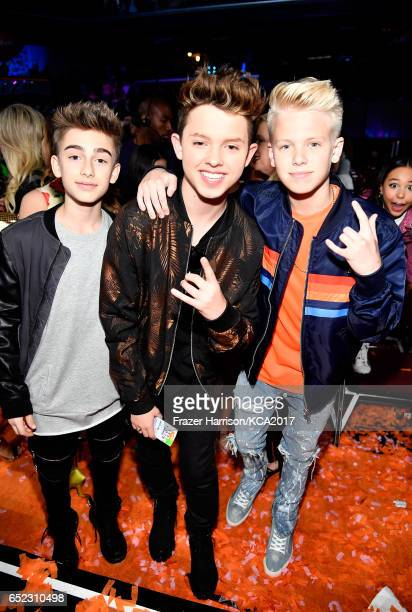 Singers Johnny Orlando Jacob Sartorius and Carson Lueders at Nickelodeon's 2017 Kids' Choice Awards at USC Galen Center on March 11 2017 in Los...