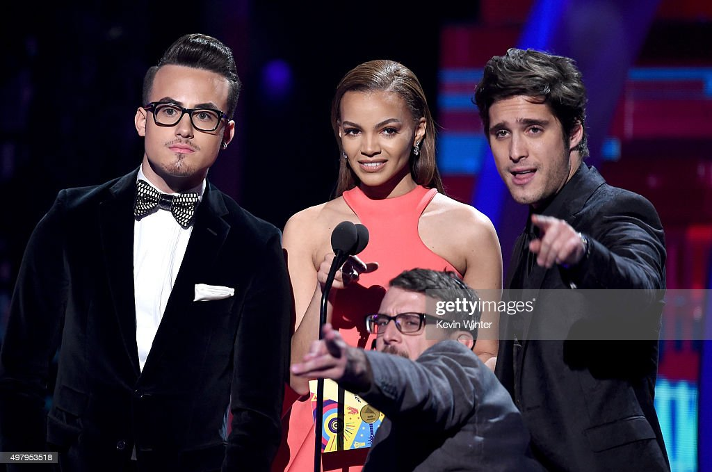 Singers Johnny Sky Leslie Grace and Diego Boneta speak onstage during the 16th Latin GRAMMY Awards at the MGM Grand Garden Arena on November 19 2015...