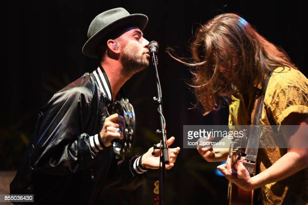 Singers Jonathan Russell and Matt Gervais of The Head and the Heart performs during the Signs of Light tour on September 26 2017 at Massey Hall in...
