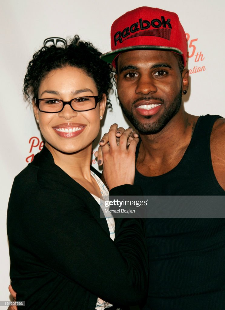 Singers <a gi-track='captionPersonalityLinkClicked' href=/galleries/search?phrase=Jordin+Sparks&family=editorial&specificpeople=4165535 ng-click='$event.stopPropagation()'>Jordin Sparks</a> and <a gi-track='captionPersonalityLinkClicked' href=/galleries/search?phrase=Jason+Derulo&family=editorial&specificpeople=5745869 ng-click='$event.stopPropagation()'>Jason Derulo</a> arrive at Perez Hilton's 35th Birthday Party Extravaganza - Arrivals at El Rey Theatre on March 23, 2013 in Los Angeles, California.