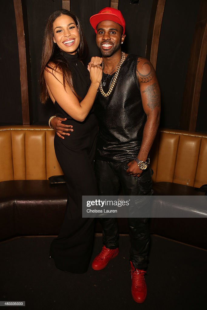 Singers Jordin Sparks (L) and Jason Derulo attend the listening party for Jason Derulo's new album 'Talk Dirty' at 1OAK on April 7, 2014 in West Hollywood, California.