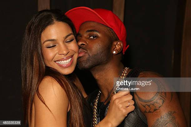 Singers Jordin Sparks and Jason Derulo attend the listening party for Jason Derulo's new album 'Talk Dirty' at 1OAK on April 7 2014 in West Hollywood...