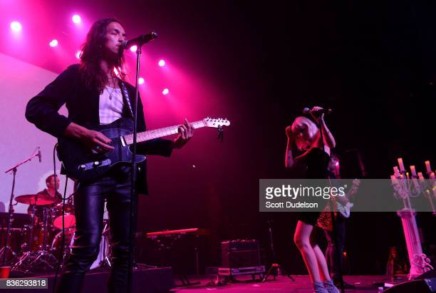 Singers Joseph Matick and Carly Russ of Girlyboi perform onstage during the GIRL CULT Festival at The Fonda Theatre on August 20 2017 in Los Angeles...