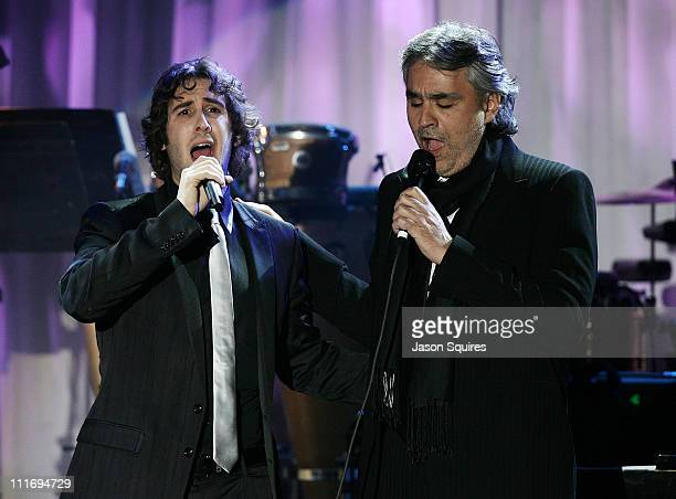 Singers Josh Groban and Andrea Bocelli during the 2008 Clive Davis PreGRAMMY party at the Beverly Hilton Hotel on February 9 2008 in Los Angeles...