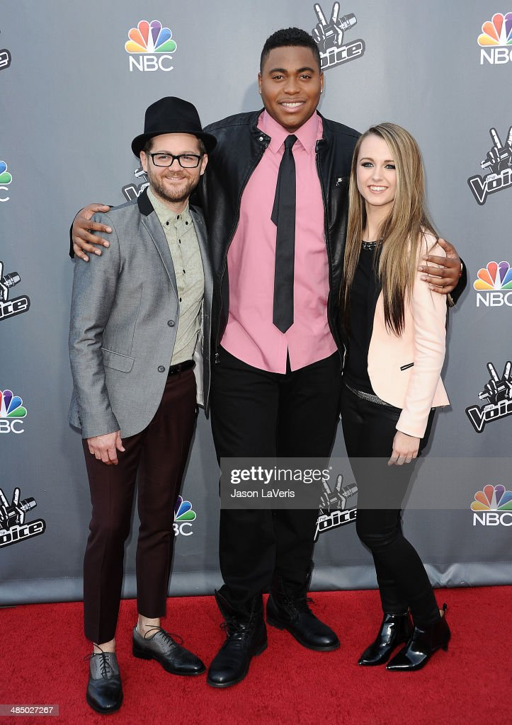 Singers <a gi-track='captionPersonalityLinkClicked' href=/galleries/search?phrase=Josh+Kaufman&family=editorial&specificpeople=9068614 ng-click='$event.stopPropagation()'>Josh Kaufman</a>, <a gi-track='captionPersonalityLinkClicked' href=/galleries/search?phrase=T.J.+Wilkins&family=editorial&specificpeople=12502732 ng-click='$event.stopPropagation()'>T.J. Wilkins</a> and <a gi-track='captionPersonalityLinkClicked' href=/galleries/search?phrase=Bria+Kelly&family=editorial&specificpeople=9639490 ng-click='$event.stopPropagation()'>Bria Kelly</a> attend 'The Voice' season 6 top 12 red carpet event at Universal CityWalk on April 15, 2014 in Universal City, California.