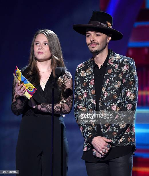Singers Joy Huerta and Jesse Huerta of Jesse Y Joy speak onstage during the 16th Latin GRAMMY Awards at the MGM Grand Garden Arena on November 19...